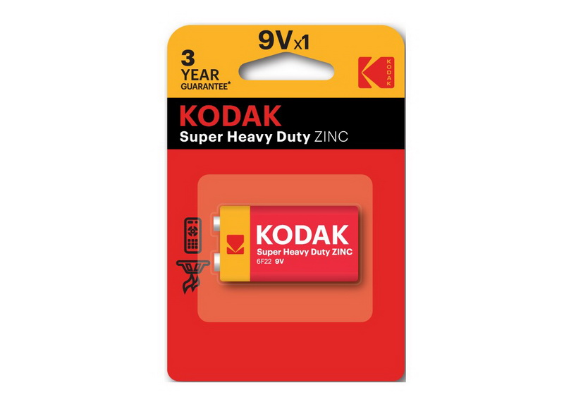 Батарейка в блистере KODAK Super Heavy Duty ZINC 6F22 (1 шт.)